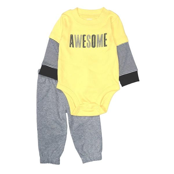 男寶寶套裝二件組 長袖包屁衣+長褲 黃假二件 | Carter s卡特童裝 (嬰幼兒/小孩/baby)