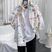 印花冰絲花襯衫男夏季薄款寬鬆短袖襯衣百搭潮流外套(快速出貨)