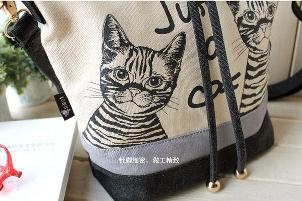 升級版 我是貓 單肩斜挎雙肩潮流帆布女包 趣味原創水桶包