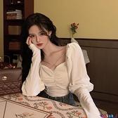 泡泡袖上衣 法式絲絨襯衫女設計感小眾襯衫春季新款氣質韓版短款泡泡長袖上衣 寶貝 免運