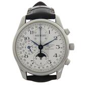 名匠系列黑色皮革自動上鏈腕錶 【二手名牌BRAND OFF】