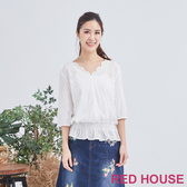 【RED HOUSE 蕾赫斯】蕾絲鬆緊上衣(白色)