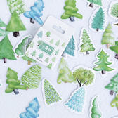 【BlueCat】小森林松樹盒裝貼紙 手帳貼紙 (46入)