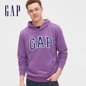 Gap男裝 Logo棉質縮口連帽上衣 567861-紫色