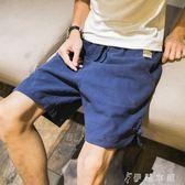 亞麻短褲男褲子夏天寬鬆五分沙灘褲夏季男士七分褲棉麻   伊鞋本鋪
