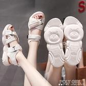 涼鞋2021年新款女厚底鬆糕學生百搭平底運動天魔術貼鞋子女 夏季狂歡