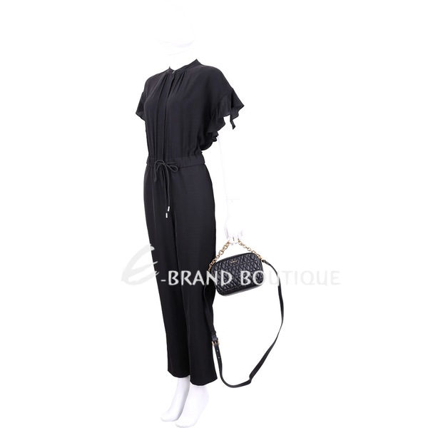 FURLA Cometa 絎縫皮革鍊帶手提斜背相機包(黑色) 1920050-01