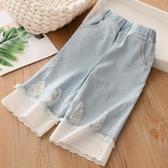 女童牛仔褲 寶寶蕾絲牛仔褲 夏裝女童童裝兒童七分褲子kz-c335-Ballet朵朵