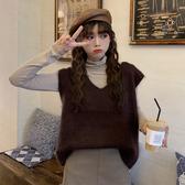 秋裝韓版2020新款寬鬆短款慵懶風外穿針織上衣套頭無袖毛衣背心女