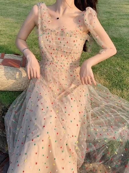 一字肩洋裝 仙女chic溫柔小個子超仙網紗吊帶裙子收腰顯瘦海邊度假沙灘洋裝 果果生活館