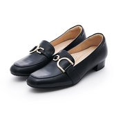 MICHELLE PARK 心動 ‧ 方頭C型金屬飾扣低跟樂福鞋-黑