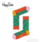 聖誕襪女-Happy Socks秋冬季男女圣誕節老人麋鹿樹葉彩帶元素情侶中筒襪子 花間公主