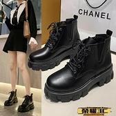 馬丁靴 馬丁靴女2021年夏季新款薄款百搭厚底單靴增高英倫風瘦瘦短靴春秋 榮耀3C