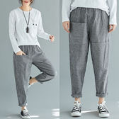 棉麻 直條紋口袋裝飾9分褲 獨具衣格