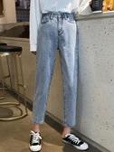 女裝韓版寬鬆闊腿褲子百搭休閒高腰牛仔長褲顯瘦淺色直筒褲潮