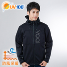 UV100 防曬 抗UV 防風保暖-軟殼連帽男外套-側邊開口
