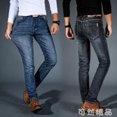 牛仔褲春夏新款彈力牛仔褲男寬鬆直筒大碼男士商務休閒青年修身韓版長褲 可然精品