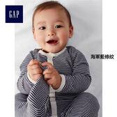 Gap男女嬰兒 純棉條紋連腳一件式長袖包屁衣 330392-海軍藍條紋