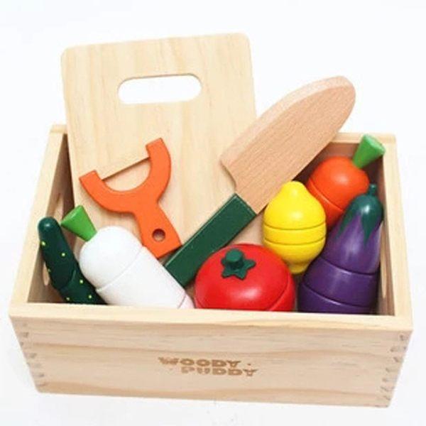 創意木盒水果蔬菜切切樂 木制磁性兒童過家家玩具