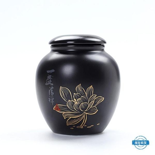 茶葉罐手繪荷花陶瓷茶葉罐一盞清禪存茶罐密封儲存罐白瓷小號裝茶罐 全館免運