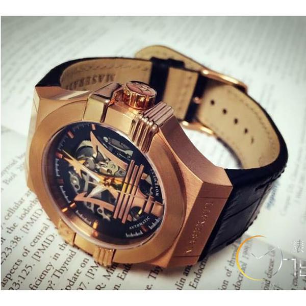 MASERATI WATCH 瑪莎拉蒂手錶 R8821108002 金色大三叉機械款 錶現精品 原廠正貨