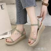 2020新款夏季韓版休閒厚底厚底楔形鬆糕一字扣帶涼鞋女外穿防滑涼拖鞋 一米陽光