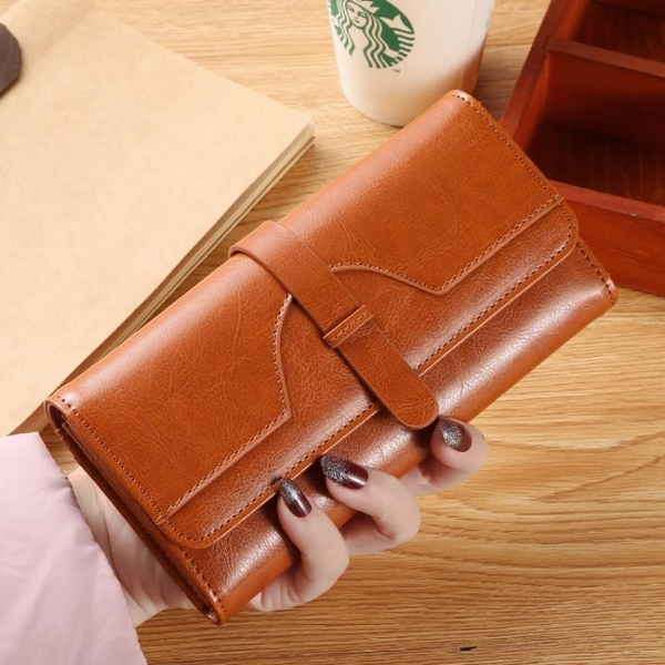 女士錢包女長款新款時尚多卡位復古大容量三折手拿包可放手機 至簡元素
