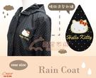 【雨眾不同】三麗鷗 Hello Kitty 凱蒂貓風衣式雨衣 防潑水雨衣 水玉點點 黑色