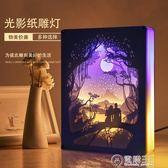 居也光影紙雕燈3diy材料包手工新款創意床頭台燈抖音剪紙燈紙刻燈 igo電購3C
