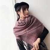 圍巾-仿羊絨格子流蘇加大加厚女披肩7色73ub16【巴黎精品】