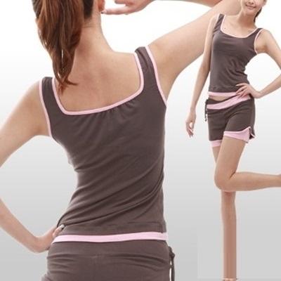 瑜珈服套裝含健身衣+運動褲-短款運動背心七分褲女運動服69n19【時尚巴黎】