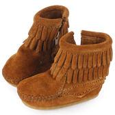 MINNETONKA 紅棕色雙層流蘇麂皮莫卡辛 嬰兒短靴(展示品)