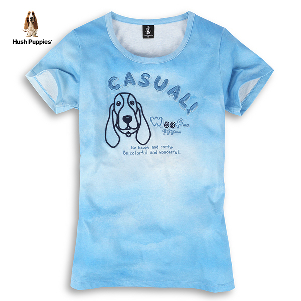 Hush Puppies T恤 女裝立體刺繡線條狗圖騰棉質渲染T恤