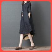 長裙 洋裝 2019夏季新款韓版寬鬆中大尺碼 女裝短袖棉麻中條紋亞麻襯衫連衣裙 新年特惠