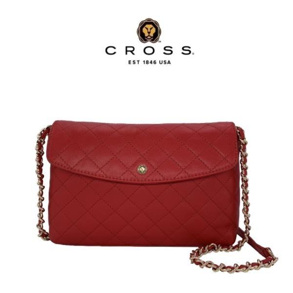 【南紡購物中心】【CROSS】限量1折 頂級NAPPA小牛皮菱格紋肩背包(紅色,全新專櫃展示品)