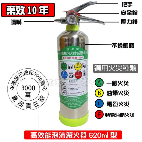 泡沫滅火器900ml型 不銹鋼瓶 適用ABCF類火災 水成膜泡沫 車用滅火器 長效型