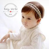 髮帶 韓版 小花 金錢點鑽 雙排 嬰兒 髮飾 頭帶 BW
