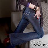 Victoria Victoria美臀靴型褲-女-中藍