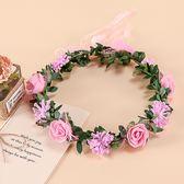 [粉紅色+粉碎花 人造花髮帶 仿真花花圈 花冠假花環] 婚禮小物 生日禮物 求婚&畢業表演花禮