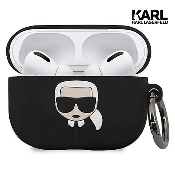 【KARL LAGERFELD】IKONIK Airpods pro耳機殼-黑 (原廠公司貨)
