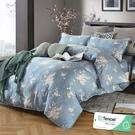 加大 182x188cm 特頂100%天絲 60s500針紗 床包四件組(兩用被套)-幽香如夢(藍【金大器】