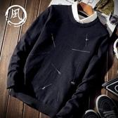 秋冬裝假兩件套帶襯衫襯衣領男士學生韓版保暖加絨針織衫毛衣男潮 依夏嚴選