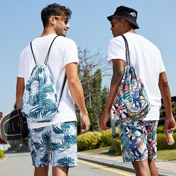 海灘包 干濕分離游泳包男防水束口袋收納袋沙灘包女旅行後背包輕便健身包