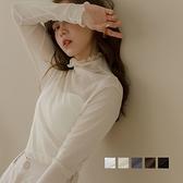 MIUSTAR 高領捲邊透紗彈力棉打底衣(共5色)【NJ2188】預購