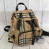 BRAND楓月 BURBERRY 近全新 經典格紋 尼龍 金釦 掀蓋 束口 後背包 手提包 輕便後背包 小款