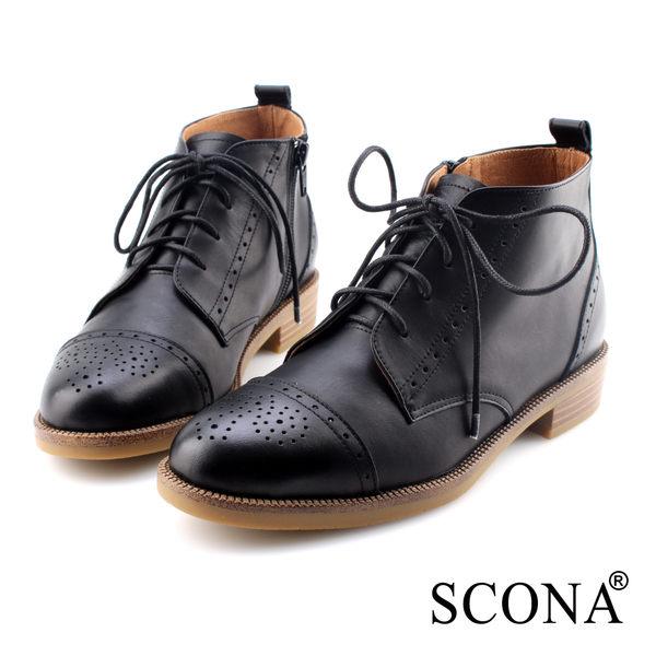 SCONA 蘇格南 全真皮 英式雕花綁帶牛津短靴 黑色 8779-1