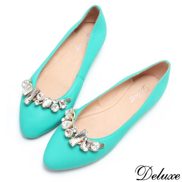 【Deluxe】全真皮甜美糖果色晶鑽娃娃鞋(綠)