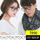 OT SHOP 眼鏡框‧橢圓形細框簡約款‧TR90 超輕羽量膠框‧亮黑霧黑茶色‧ ‧TR1