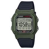 【CASIO】 十年電力高防水運動電子錶-綠(W-800HM-3A)