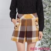 【RED HOUSE 蕾赫斯】配色格紋毛料短褲(黃色)